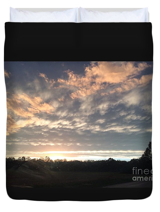 Sunset Duvet Cover featuring the photograph Sunset In November by Brandon Miller