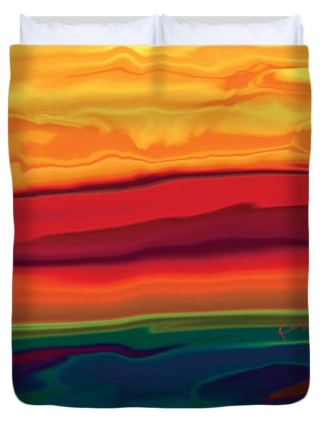 Art Duvet Cover featuring the digital art Sunset In Ottawa Valley 1 by Rabi Khan
