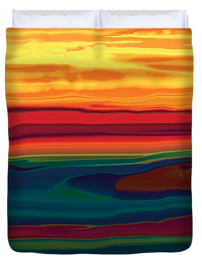 Art Duvet Cover featuring the digital art Sunset In Ottawa Valley by Rabi Khan