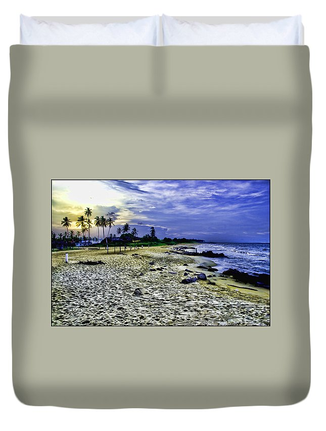 Palms Duvet Cover featuring the photograph Sunset In Palma Sola by Galeria Trompiz