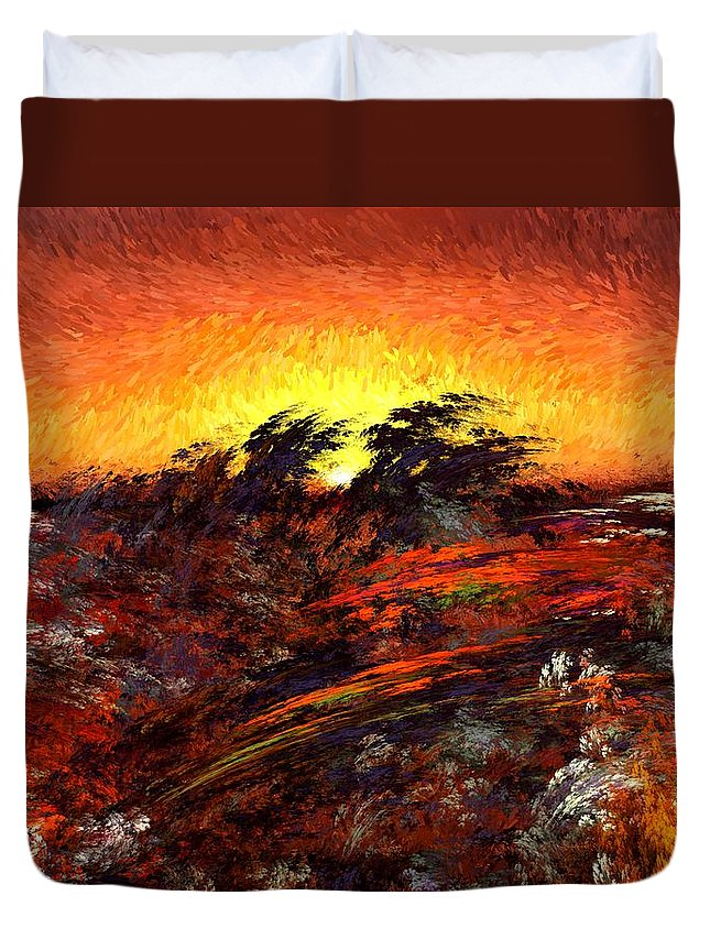 Abstract Digital Painting Duvet Cover featuring the digital art Sunset In Paradise by David Lane