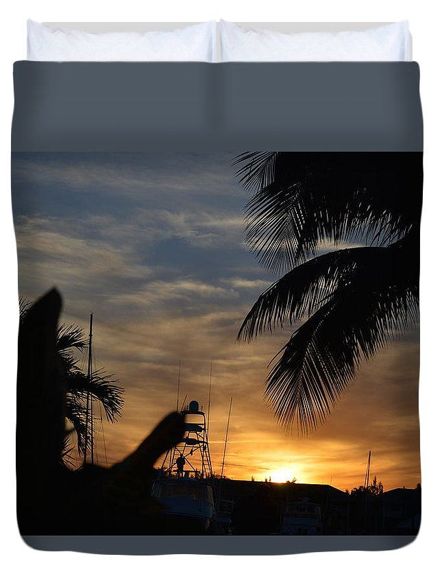 Freeport Duvet Cover featuring the photograph Sunset In Paradise by Teresa Crocker