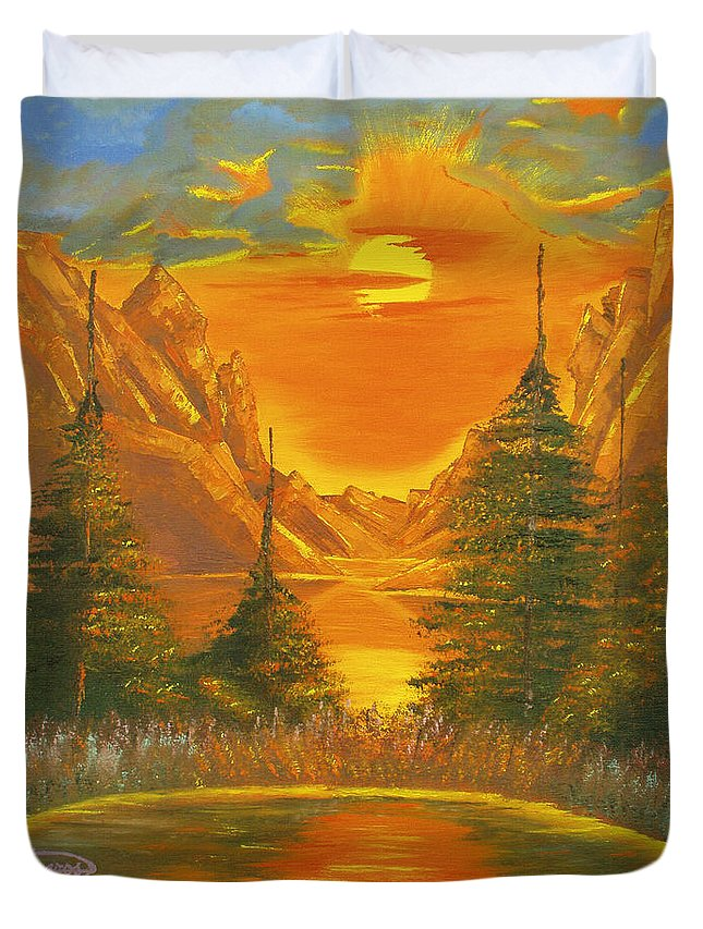 Landscape Duvet Cover featuring the painting Sunset In The Canyon 1 by Milagros Palmieri