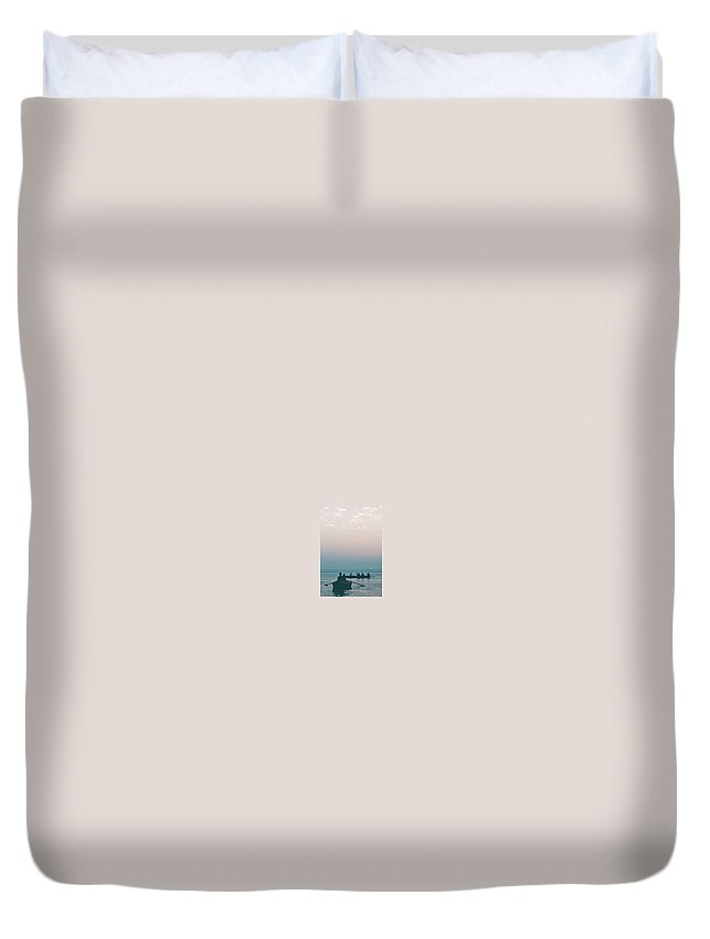 Ganges Duvet Cover featuring the digital art Sunset In Varanasi, India by Sterling Haidt