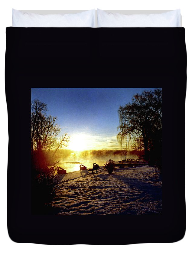 Morning Duvet Cover featuring the photograph Sunset In Winter by Joshua Macneil
