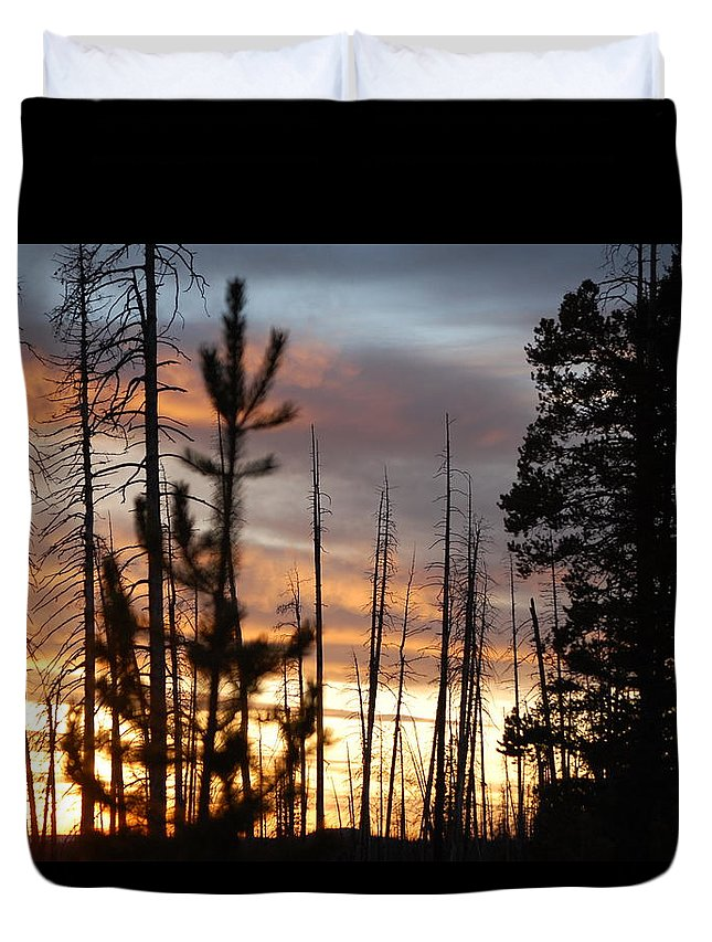 Sunset Duvet Cover featuring the photograph Sunset In Yellowstone by Sadie Dimsey