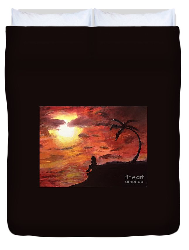 Sunset Duvet Cover featuring the painting Sunset by Kimmi Sandhu
