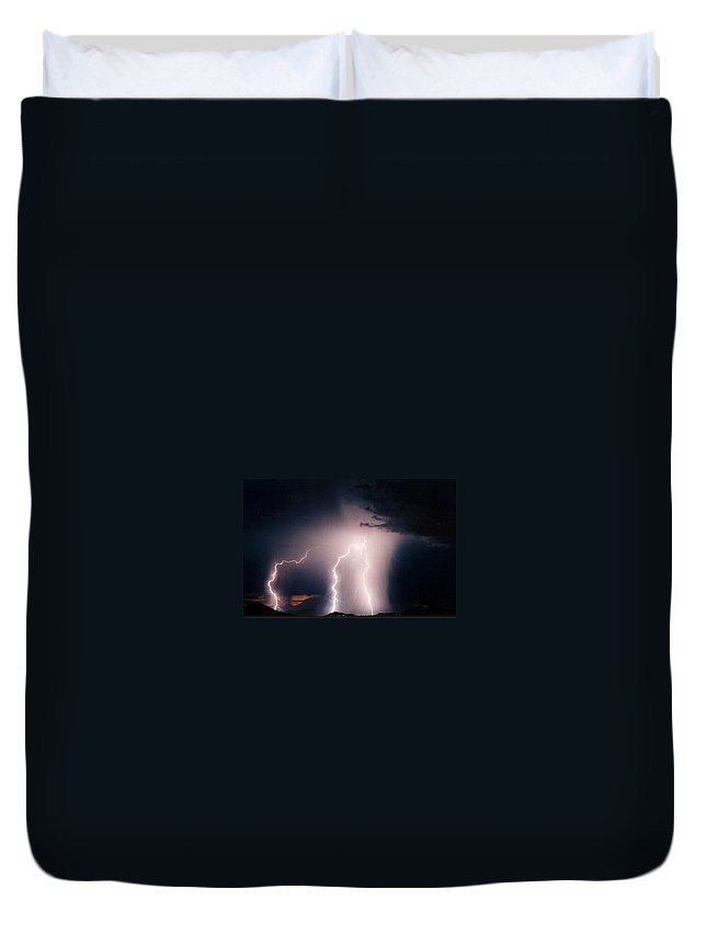 Lightning Photography Duvet Cover featuring the photograph Sunset Lightning by Cathy Franklin