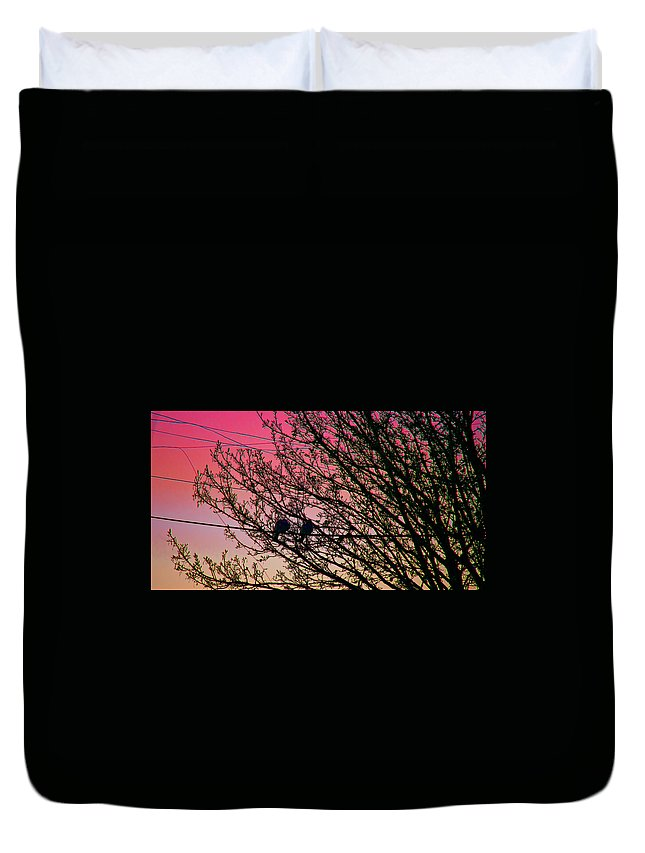 Tree Duvet Cover featuring the photograph Sunset Lovers by Alex Art and Photo