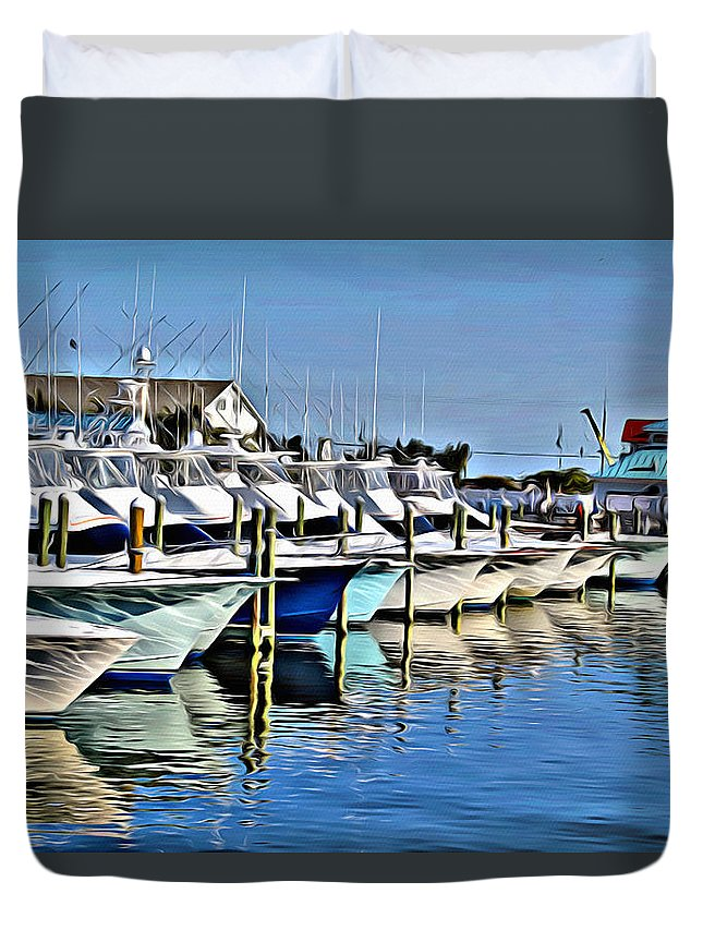 Sunset Marina Duvet Cover featuring the digital art Sunset Marina by Anthony C Chen