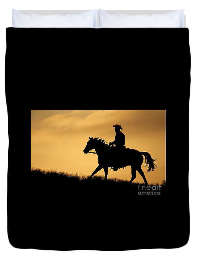 Horse Duvet Cover featuring the photograph Sunset Meadow. by Robbin Siembieda