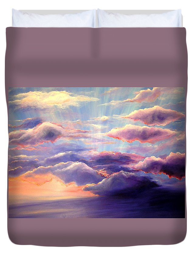 Sunset Duvet Cover featuring the painting Sunset by Melissa Joyfully