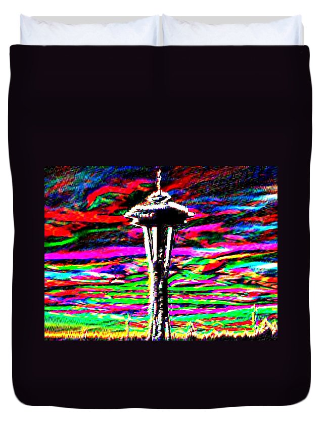 Seattle Duvet Cover featuring the photograph Sunset Needle 2 by Tim Allen