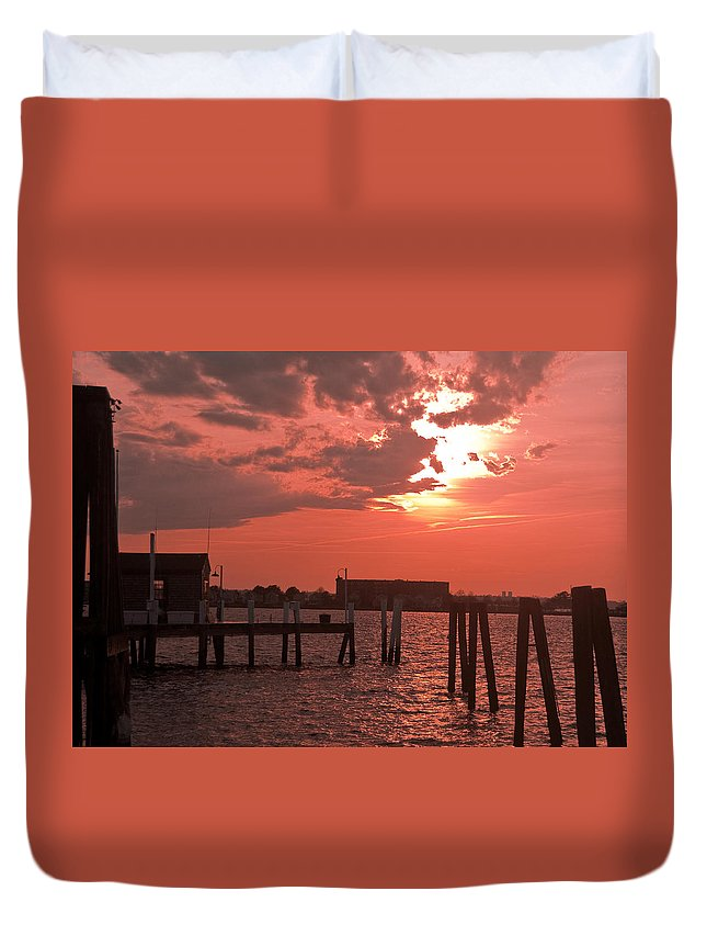 Sunset Duvet Cover featuring the photograph Sunset Newport Rhode Island by Steven Natanson