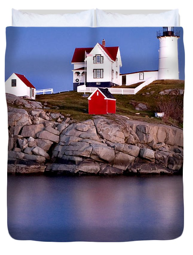 Lighthouse Duvet Cover featuring the photograph Sunset Nubble by Greg Fortier