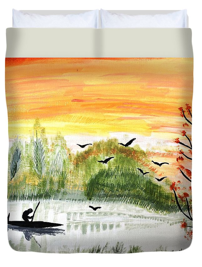 Lake Duvet Cover featuring the painting Sunset On A Lake by Sammy D