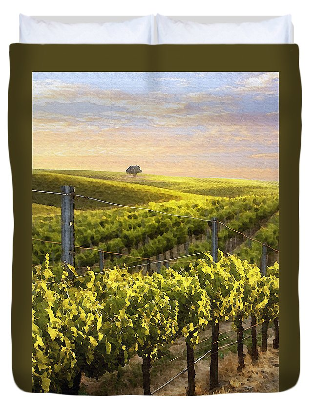 Vineyard Duvet Cover featuring the photograph Sunset On A Vineyard by Sharon Foster