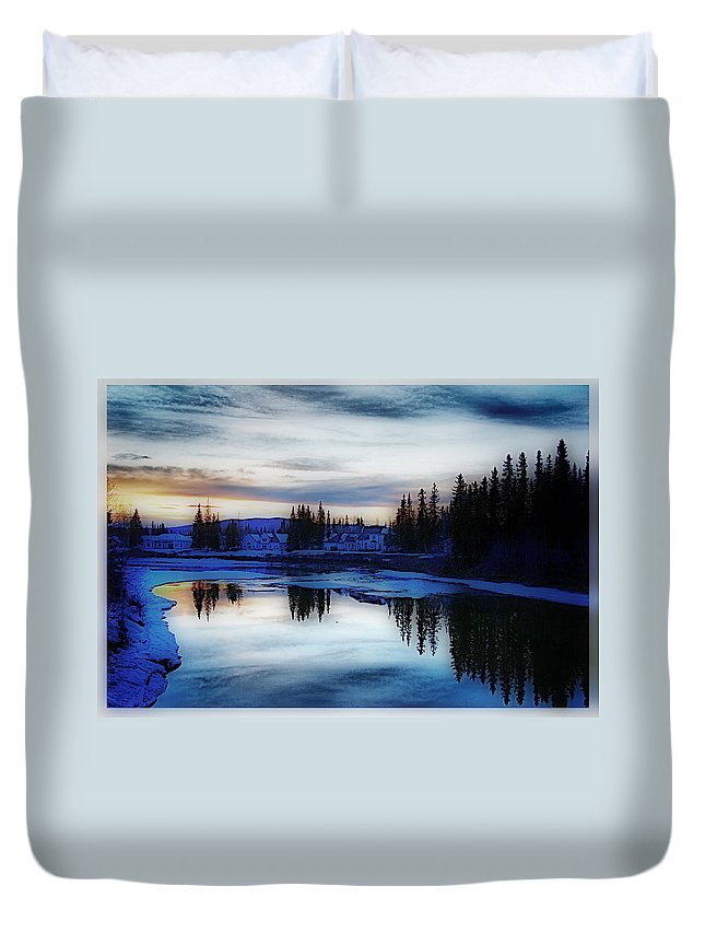 Sunset Chena River Alaska Blue Sky Reflects Wather Trees Duvet Cover featuring the photograph Sunset On Chena River - Alaska by Galeria Trompiz
