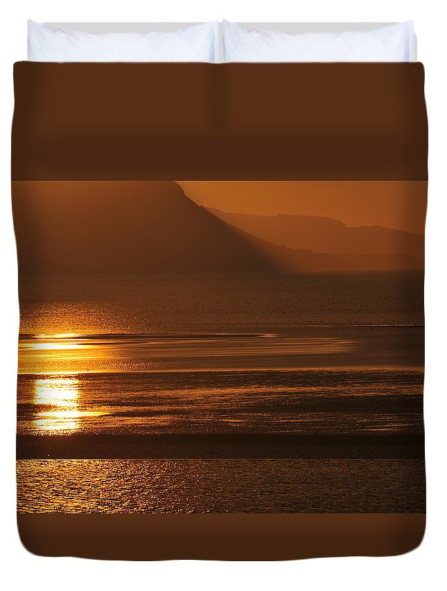 Sunset Duvet Cover featuring the photograph Sunset On Coast Of North Wales by Harry Robertson
