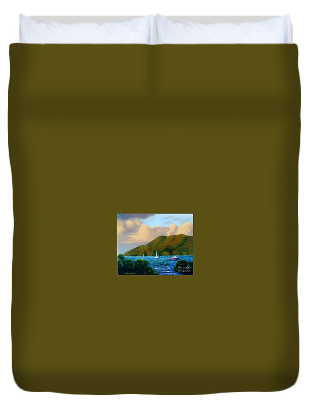 Sunset Duvet Cover featuring the painting Sunset On Cruz Bay by Laurie Morgan