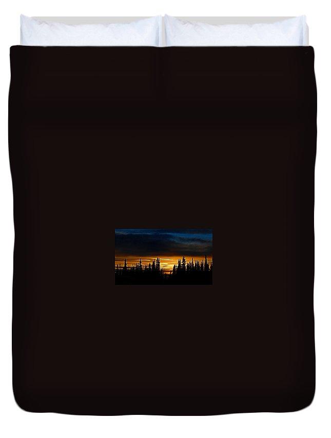 Sunset Fairbanks Alaska Orange Blue Black Trees Sky Duvet Cover featuring the photograph Sunset On Fairbanks - Alaska by Galeria Trompiz