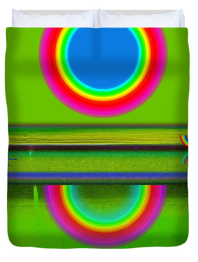 Reflections Duvet Cover featuring the painting Sunset On Green by Charles Stuart