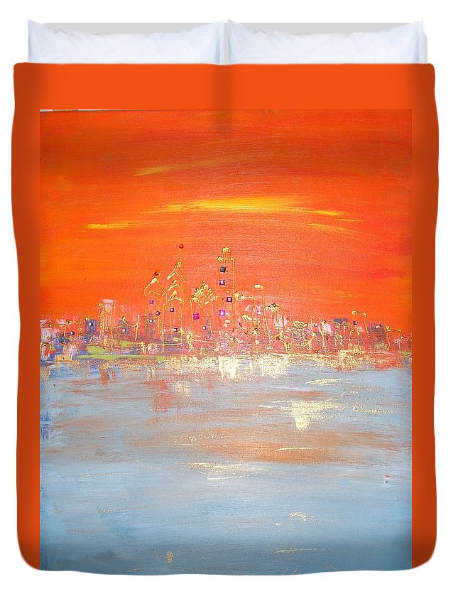 Duvet Cover featuring the painting Sunset On Ice by Lilliana Didovic