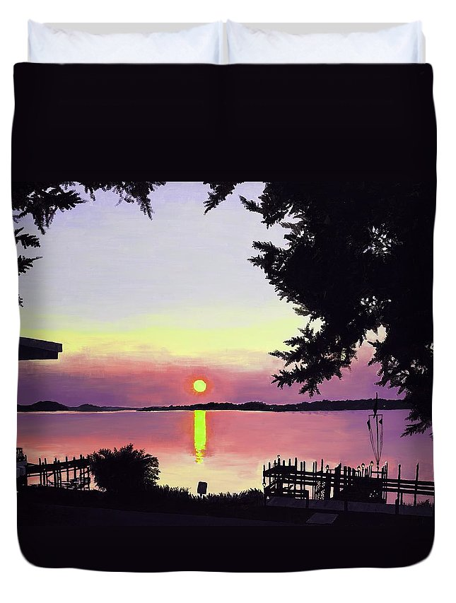 Sunset On Lake Duvet Cover featuring the painting Sunset On Lake Dora by Judy Swerlick
