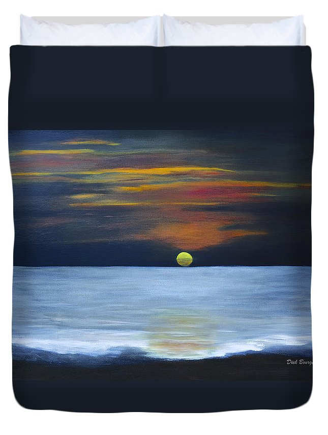Sunset Duvet Cover featuring the painting Sunset On Lake Michigan by Dick Bourgault