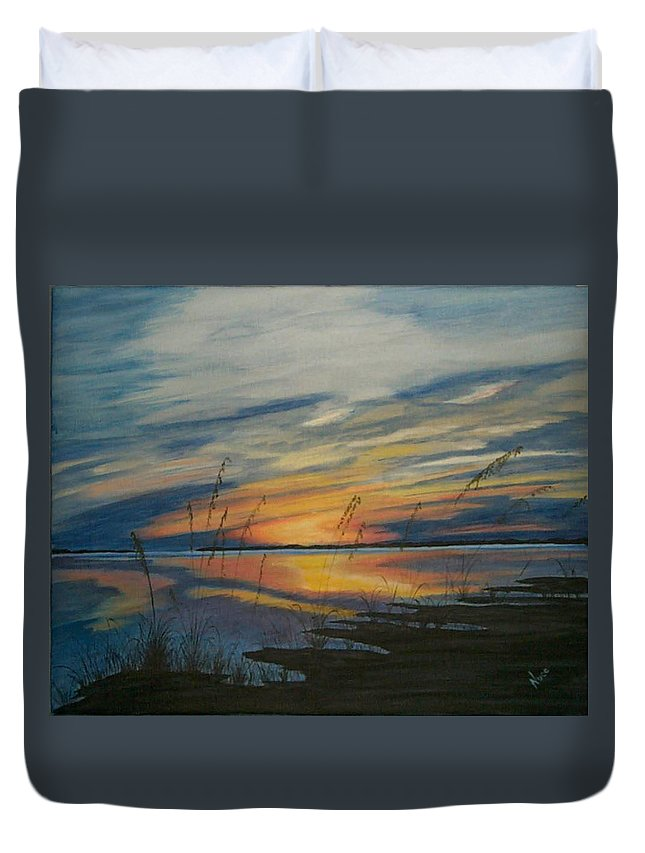 Sunset Duvet Cover featuring the painting Sunset On St. Andrew by Nancy Nuce