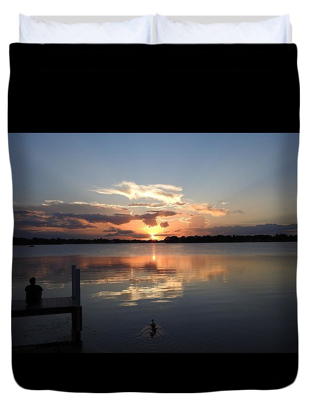 Sunset Duvet Cover featuring the photograph Sunset On The Dock by Nina Travieso