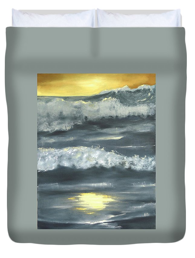 Seascape Duvet Cover featuring the painting Sunset On The Island by Vera Persiyanova