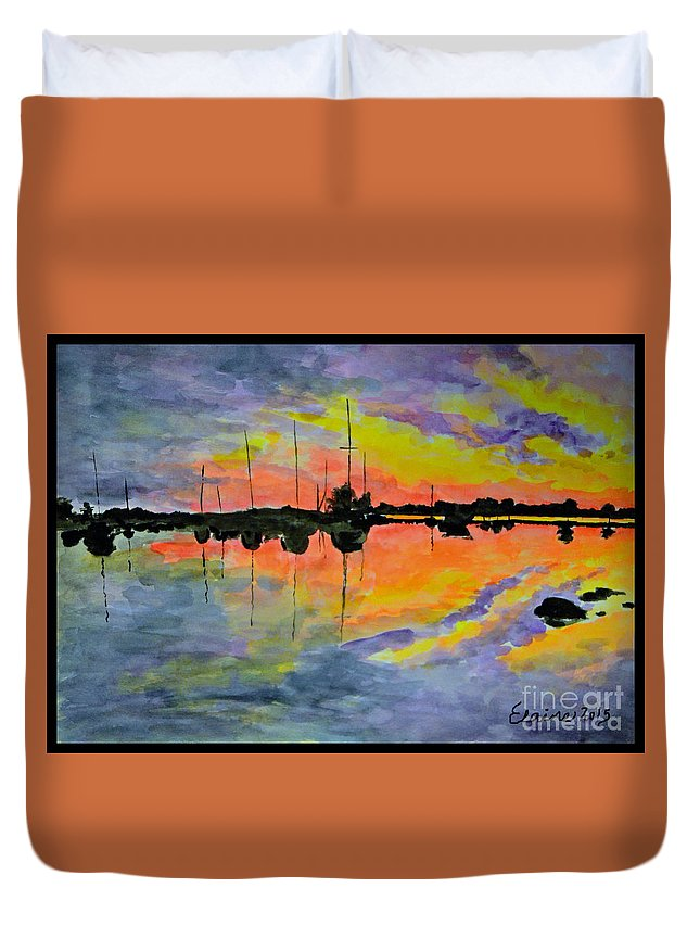 Sunset Duvet Cover featuring the painting Sunset On The Lake by Elaine Berger