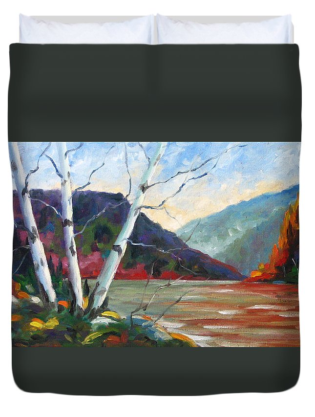 Landscape; Landscapes/scenic; Birches;sun;lake;pranke Duvet Cover featuring the painting Sunset On The Lake by Richard T Pranke