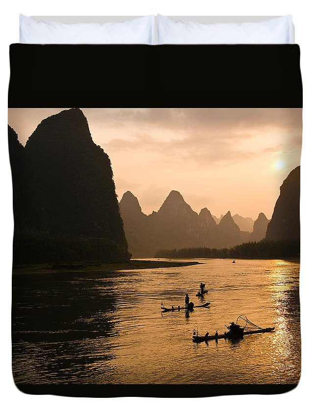 Asia Duvet Cover featuring the photograph Sunset on the Li River by Michele Burgess