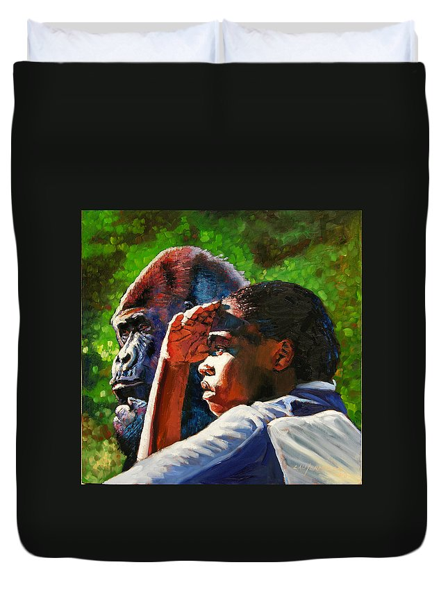 Gorilla Duvet Cover featuring the painting Sunset On The Myth by John Lautermilch