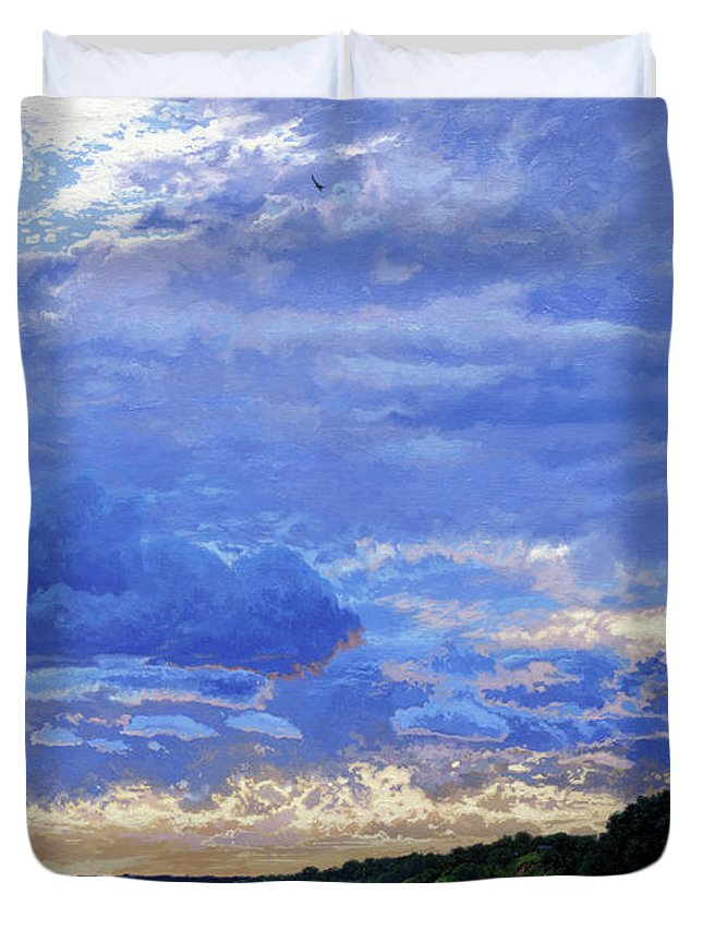 Landscapes Duvet Cover featuring the painting Sunset On The Volga. Gorodets by Simon Kozhin