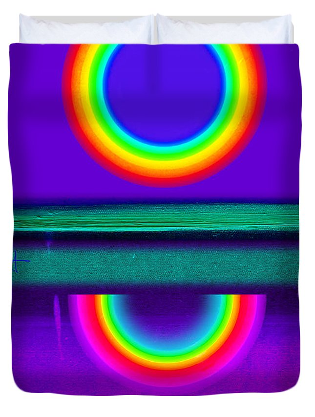 Reflections Duvet Cover featuring the painting Sunset On Violet by Charles Stuart