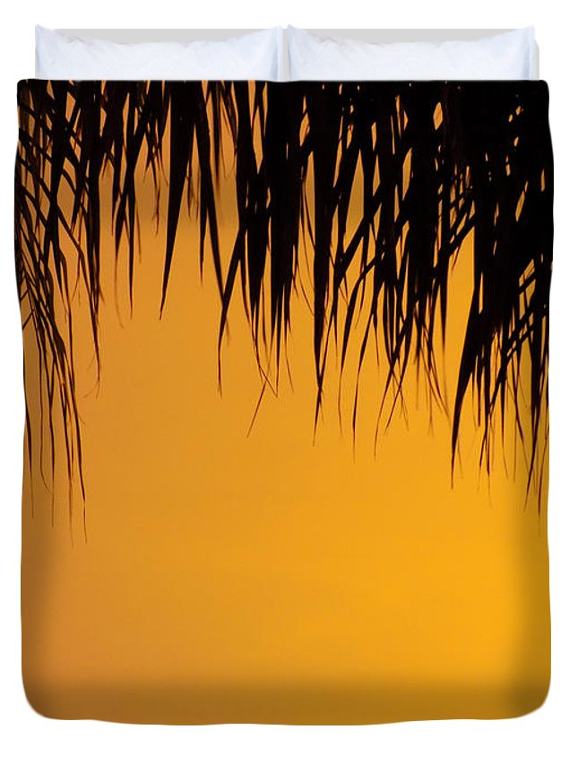 Sunset Duvet Cover featuring the photograph Sunset Orange After Storm by William Tasker