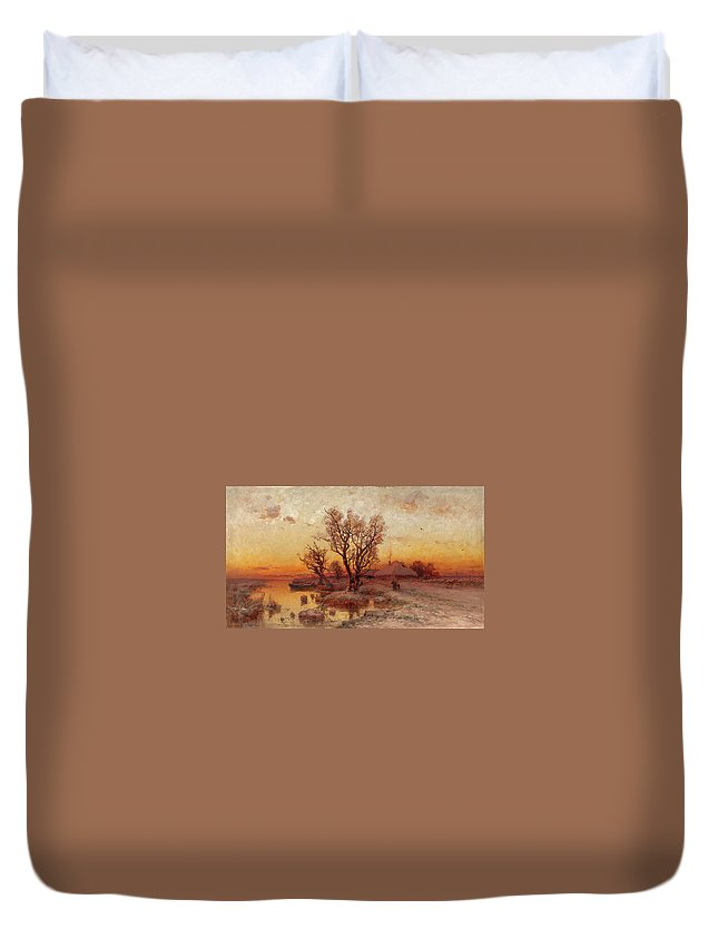 Klever Duvet Cover featuring the painting Sunset Over A Ukrainian Hamlet by MotionAge Designs