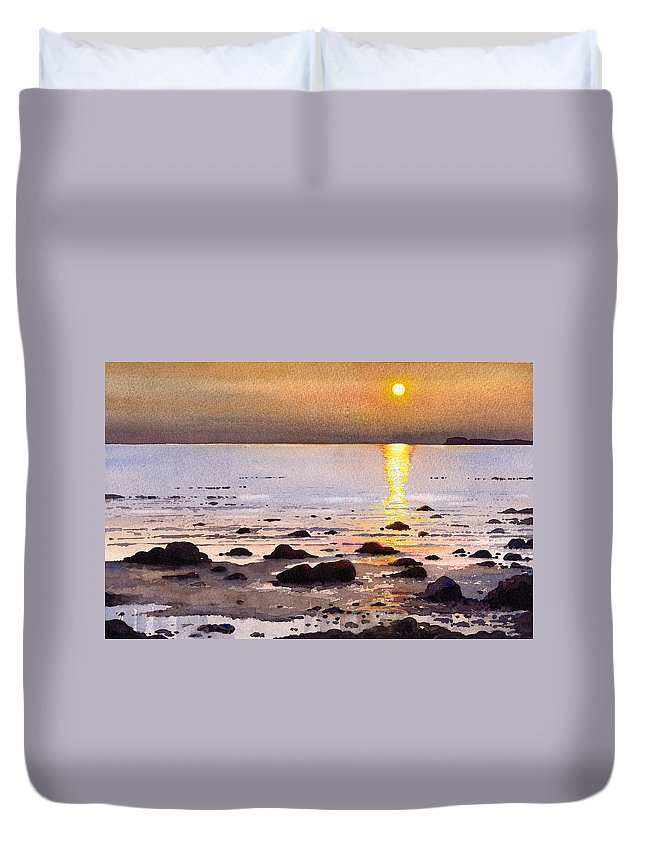 Sunset Duvet Cover featuring the painting Sunset Over Cara by Paul Dene Marlor