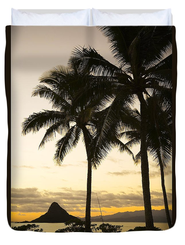 Bright Duvet Cover featuring the photograph Sunset Over Chinamans Hat by Dana Edmunds - Printscapes