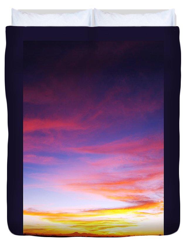 Sunset Duvet Cover featuring the photograph Sunset Over Desert by Jill Reger