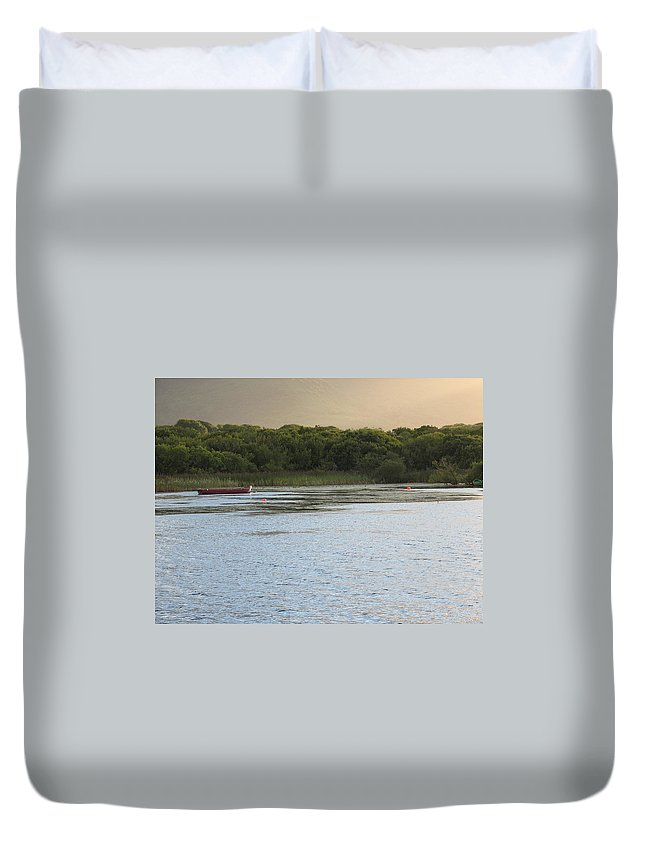 Boat Duvet Cover featuring the photograph Sunset Over Killarney by Kelly Mezzapelle