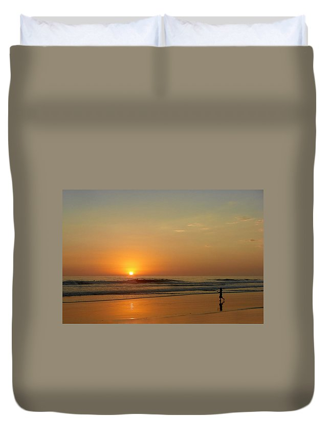 Pacific Duvet Cover featuring the photograph Sunset Over La Jolla Shores by Christine Till