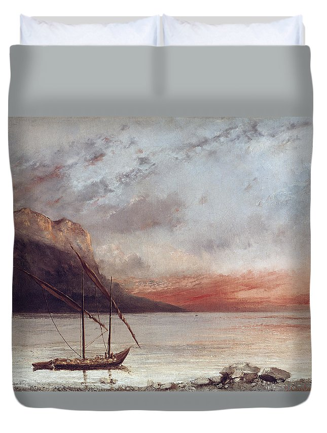Sunset Duvet Cover featuring the painting Sunset Over Lake Leman by Gustave Courbet