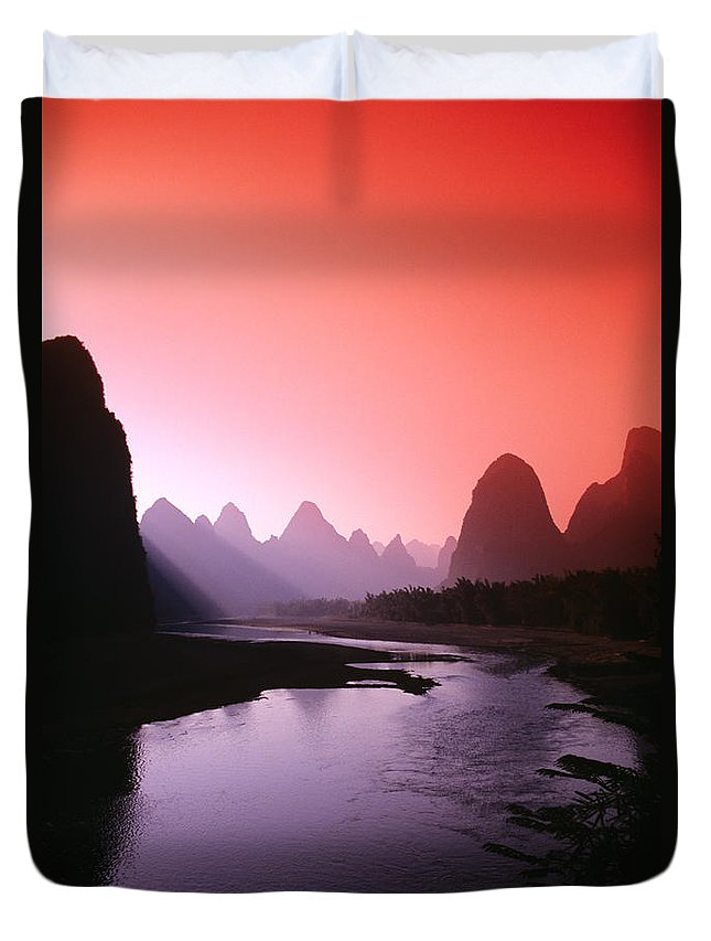 Asian Art Duvet Cover featuring the photograph Sunset Over Li River by Gloria & Richard Maschmeyer - Printscapes