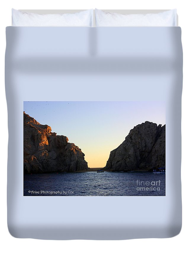 Sunset Duvet Cover featuring the photograph Sunset Over Lovers Beach by Charlene Cox
