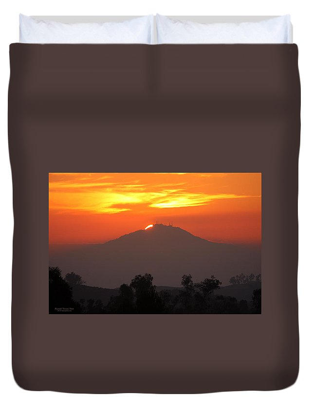 Sun Duvet Cover featuring the photograph Sunset Over Mt. Woodson by Randall Thomas Stone