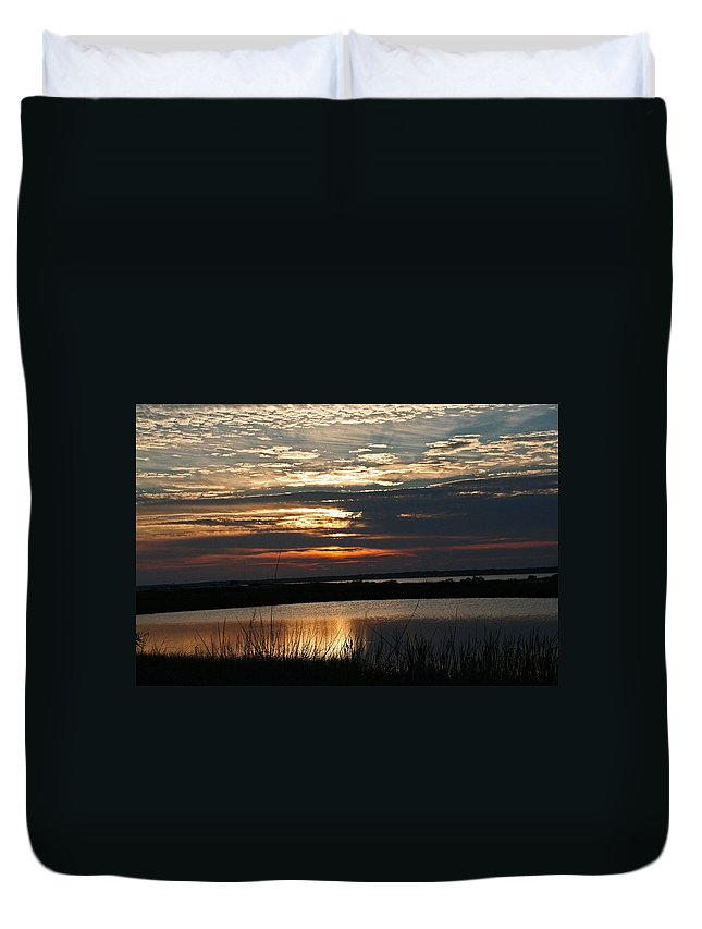Sunrise Duvet Cover featuring the photograph Sunset Over Navarre by David Campbell